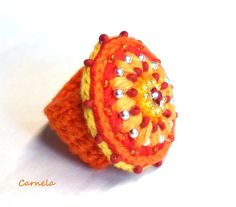 crochet ring from TiffiTwist Crochet Rings, Love Crochet, Bead Crochet, Crochet Motif, Beautiful Crochet, Diy Crochet, Crochet Flowers, Crochet Patterns, Found Object Jewelry