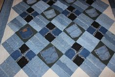 Memory Quilt Denim Rag Quilt Blue Jean by YoursSincerelyCindy