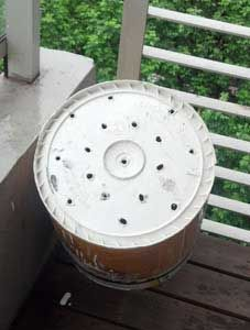Drill holes in the bottom of your best looking bucket (can be done with a hot screw driver)