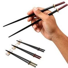 Samurai Sword Chopsticks. Eat sushi in style with these highly detailed miniature samurai sword chopsticks. These fully functional chopsticks are a great gift for anyone who is a heavy sushi eater or for anyone who simply enjoys Japanese culture.