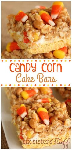 Candy Corn Cake Bars from @sixsistersstuff | These candy corn cake bars are loaded with 3 delicious layers of goodness! Not all of our kids like to eat pie for Thanksgiving, so these cute bars are sure to be a hit! They have a cake bottom, marshmallow center and loaded with a nutty and chewy peanut butter rice krispie layer! Top them off with cute candy corns and you have a mouthwatering dessert.