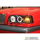 BLACK 93-97 VOLVO 850 DUAL HALO PROJECTOR HEADLIGHTS LAMPS LIGHTS LEFT+RIGHT For Sale Cheap