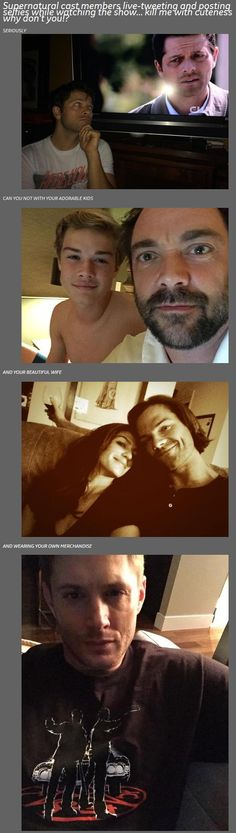10x03 Soul Survivor tweets - Supernatural Cast selfies, Misha Collins, Mark and Max Sheppard, Gen and Jared Padalecki, Jensen Ackles (his response was my favorite), just missing Osric Chau's!