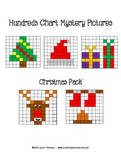 Christmas Math - Hundreds Chart Mystery Pictures. This is a set of 5 fun printable worksheets for students to practice place value and recognizing colors and numbers on a hundreds chart. Use the key to color in the boxes and reveal a hidden picture!    Pictures are:  -Christmas tree  -Santa hat  -presents  -Rudolph the Red Nosed Reindeer  -stockings