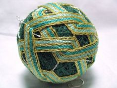 Temari Ball Ornament In Shades of Green Gold And Silver Home Decor  | Wyverndesigns - Fiber Arts on ArtFire Great for home decor or Christmas.
