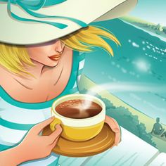 Illustration of woman drinking coffee #charlenechua