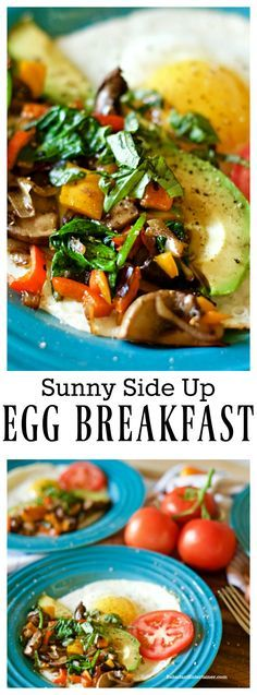 Sunny Side Up Egg Breakfast with spinach, peppers, mushrooms