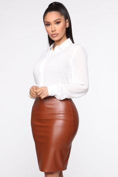 Call In Slick Shirt – White – fashion nova outfits Sexy Blouse, Blouse And Skirt, Dress Skirt, Dress Clothes For Women, Fashion Nova Models, Classy Outfits, Work Outfits, Work Attire, White Fashion