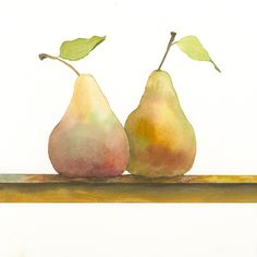 Jake Marshall watercolor. Pears on a window sill.