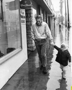 Steve McQueen and daughter Terry Los Angeles, 1964