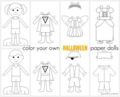 Color Your Own Halloween Paper Dolls Printable    Gwenny Penny