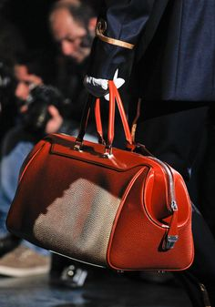 Louis Vuitton Fall 2012 red pebbled leather structured handbag