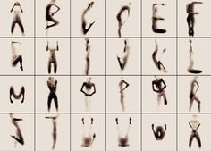 """naked silhouette alphabet by anastasia mastrakouli """"rendered as a composition of a silhouette and surface while conforming to the shape of the english alphabet..."""""""