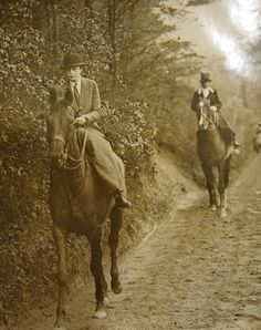 A vintage photo of women riding sidesaddle. It was once considered scanalous for a woman to ride astride.