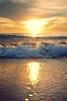 Beach, ocean, ocean waves, sunset