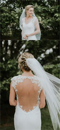 Walker's Overlook Wedding. Open back wedding dress. Veil. Looks like film. Sarah Brookhart Photography