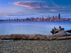 Beautiful Seattle Photos  // This looks very much like Alki Beach. Seattle you see in the distance.
