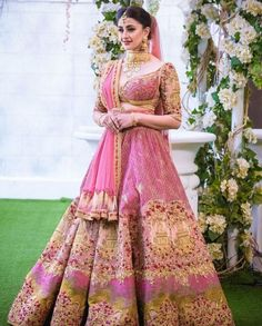All Ethnic Customization with Hand Embroidery & beautiful Zardosi Art by Expert & Experienced Artist That reflect in Blouse , Lehenga & Sarees Designer creativity that will sunshine You & your Party Worldwide Delivery. Indian Bridal Outfits, Indian Bridal Lehenga, Indian Bridal Fashion, Pakistani Bridal Wear, Indian Designer Outfits, Indian Dresses, Bridal Dresses, Pink Bridal Lehenga, Lehenga Wedding