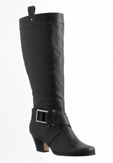 Roamans Plus Size Wide Calf Knee-High Boots with Side Buckles (BLACK,8 1/2 WW) $119.99