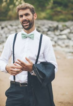 Braces and mint green details. Summer wedding suit ideas grooms #groom #suit