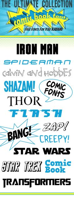 Comic Book Fonts Aspen Jay - Fonts - Ideas of Fonts - FREE Comic Book fonts! These will be perfect to use in a superhero party!