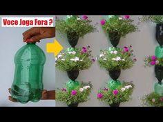 Recycle Plastic Bottles into Beautiful Flower Garden Tower Plastic Planters, Recycle Plastic Bottles, House Plants Decor, Plant Decor, Green Plants, Potted Plants, Growing Coriander, Plants In Bottles, Pot Jardin