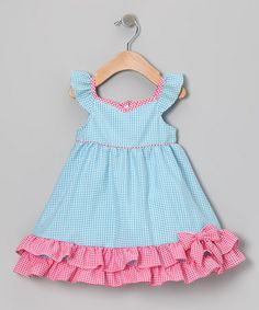 {Blue & Pink Gingham Ruffle Dress - Infant, Toddler & Girls by Gidget Loves Milo} *Love the bow at the bottom in the ruffle. SO cute.