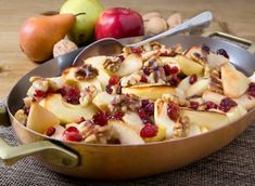 Great Fall Fruit Salad - apples, pears, cranberries and walnuts cooked with honey, lemon and vanilla. Delicious!