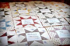 Quilt Otaku: Wedding Signature Quilt - just in time for Valentine's Day Shirt Quilt, Rag Quilt, Quilt Blocks, Quilt Guest Books, Book Quilt, Quilting Tutorials, Quilting Designs, Quilting Ideas, Memory Pillows