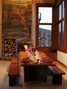 Luv this rustic styled dining room by Taylor Lombardo Architects