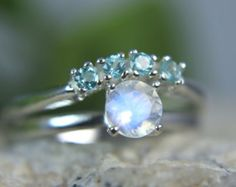 MOONSTONE- Rainbow Moonstone and Blue Apatite Sterling Engagement & Wedding Ring Set!
