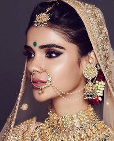 Perfect finishing to a bridal look is given by stunning nose rings! Book the best makeup artist now with BookEventZ to get the perfect bridal look on THE DAY! Bridal Makeup Looks, Indian Bridal Makeup, Asian Bridal, Indian Bride Hair, Indian Eye Makeup, Desi Wedding, Wedding Bride, Wedding Hair, Tamil Wedding