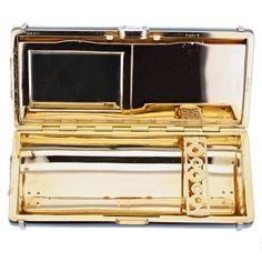 Cartier Paris Art Deco Black Enamel Diamond Lady's Vanity Case | From a unique collection of vintage vanity items at https://www.1stdibs.com/jewelry/objets-dart-vertu/vanity-items/
