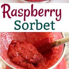 Recipe - How to Make Raspberry Sorbet - One Hundred Dollars a Month Rasberry Sorbet, Sorbet Ice Cream, Raspberry, Vegan Gluten Free, Vegan Vegetarian, Dairy Free, Gelato Recipe, Sorbet Recipe, Summer Treats