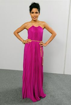 Freida Pinto Evening Dress  Freida Pinto was a vivacious beauty at the Doha Tribeca Film Festival in a hot fuchsia pleated gown with a gold tassel belt.  Brand: Salvatore Ferragamo