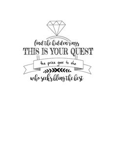 Ring hunt, Bridal Shower Game, Wedding Shower Game, Free Printable. Wedding printable. Couldn't find what I wanted for my sister's bridal shower, so I made one up. Feel free to use it too!