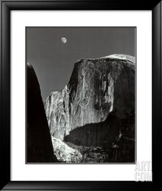 Moon and Half Dome, Yosemite National Park, 1960, by Ansel Adams