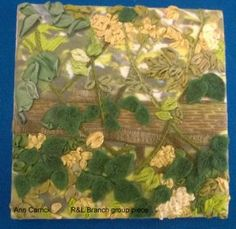"""Piece by Ann Carrick (part of a larger group piece), member of Embroiderers' Guild Richmond & Leyburn branch. Part of the """"Landscapes and Gardens"""" exhibition at The Garden Rooms at Tennants  7-26 June 2016. Exhibition held as part of the UK's Capability Brown Festival"""