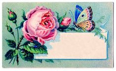Vintage Images - Label - Rose & Butterfly - The Graphics Fairy (Label for grandma)