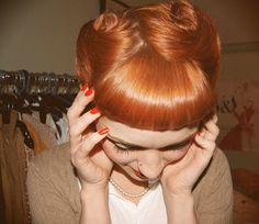 victory rolls, flat with bettie bangs!