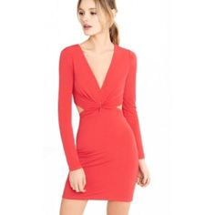 Red Plunging V-Neck Back Cut Out Dress - Express Express | Red Plunging V-neck Back Cut-out Dress | BRAND NEW with the tags still on. Express Dresses Backless