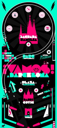 Barcelona tourist map poster by Andy Fox, via Behance