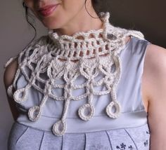 Ichtaca Albino - Aztec inspired crocheted collar / fiber jewelry in natural cream - limited edition