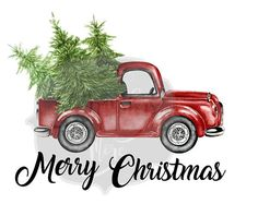 Merry Christmas Tree Truck Holiday Iron On Ready to Press Elf Christmas Decorations, Christmas Printables, Holiday Crafts, Christmas Ornaments, Christmas Red Truck, Christmas Wood, Christmas Pictures, Merry Christmas, Holiday Images