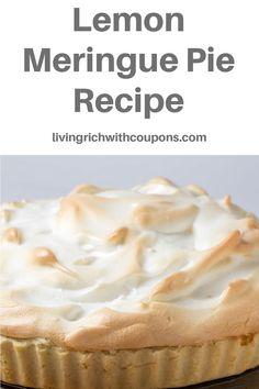 Try this easy and delicious Lemon Merinque Pie Recipe. It is a perfect dessert for your Easter celebration! Enjoy! Lemon Meringue Pie, Rich Life, Pie Recipes, Food, Eten, Meals, Diet