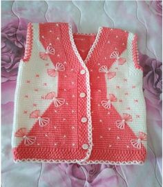 """This post was discovered by Nai """"Very nice embellishments"""", """"This post was discovered by Hem"""" Baby Knitting Patterns, Baby Cardigan Knitting Pattern Free, Free Baby Blanket Patterns, Baby Boy Knitting, Knitting Designs, Knit Baby Sweaters, Knitted Baby Blankets, Baby Girl Vest, Baby Dress"""