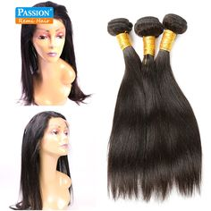 71.32$  Watch now - http://ali9ni.worldwells.pw/go.php?t=32751752519 - Brazilian Virgin Hair Straight With 360 Full  Lace Band Frontal Closure 2/3pcs Straight Hair 360 Lace Frontal With Bundles