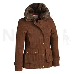 Tottie Ladies Frankie Tweed Jacket Brown - Tottie Ladies Frankie Tweed Jacket in Brown. The Tottie Ladies Frankie Tweed Jacket is a shooting style tweed jacket with a faux fur collar, perfect for teaming with jeans for a stroll in the countryside. The Frankie Jacket is fully lined and features velvet trims, antique zip teeth and poppers. The Frankie is a flattering jacket perfect for completing that country look. Made from 100% Wool, Machine Washable.