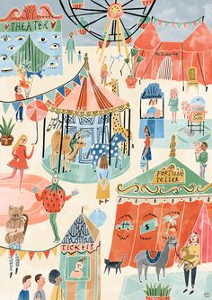 The Leisure collection is inspired by fun times with the family and consists of three different prints: Beach, Zoo and Fair. # Beauty poster Spice up your Kids Room with Beautiful Posters - Petit & Small Art And Illustration, Illustration Agency, Illustrations And Posters, Character Illustration, People Illustrations, Watercolour Illustration, Vintage Cartoon, Beautiful Posters, Beautiful Pictures