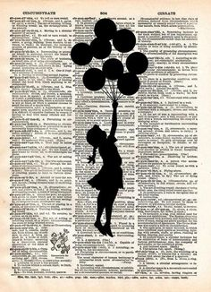 Banksy Girl with Balloons, street art, banksy print, vintage dictionary page book art print -  - 1